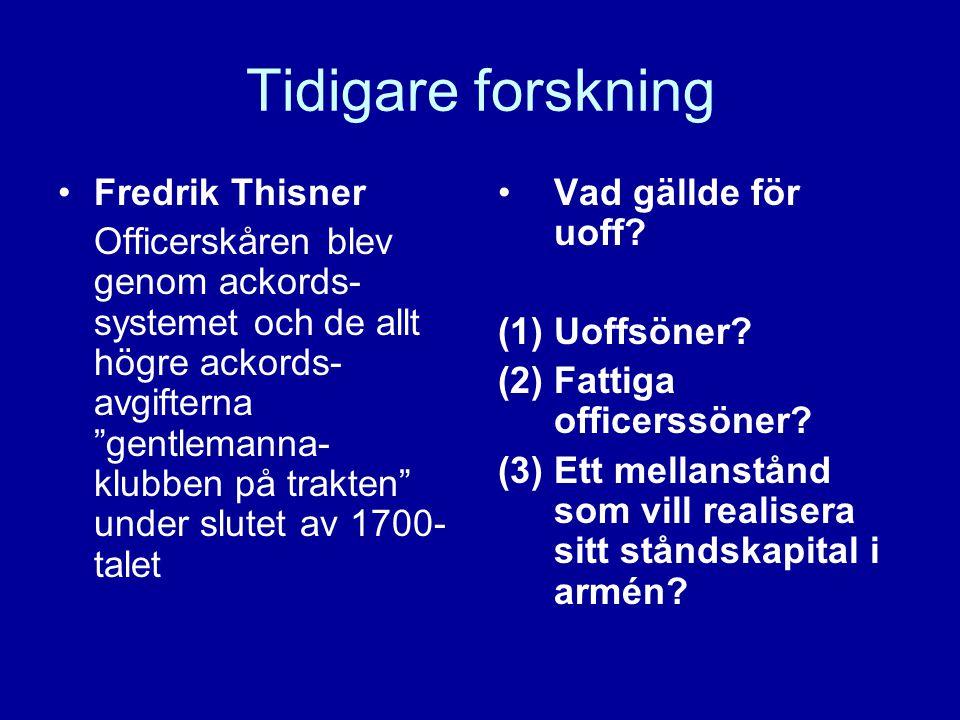 """Tidigare forskning •Fredrik Thisner Officerskåren blev genom ackords- systemet och de allt högre ackords- avgifterna """"gentlemanna- klubben på trakten"""""""