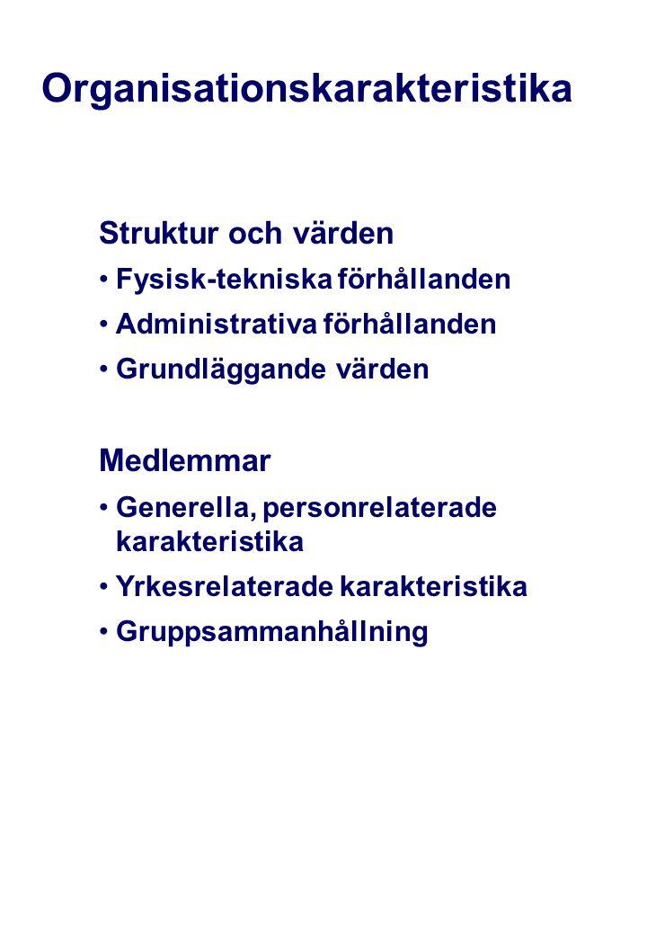 Organisationskarakteristika Struktur och värden •Fysisk-tekniska förhållanden •Administrativa förhållanden •Grundläggande värden Medlemmar •Generella,