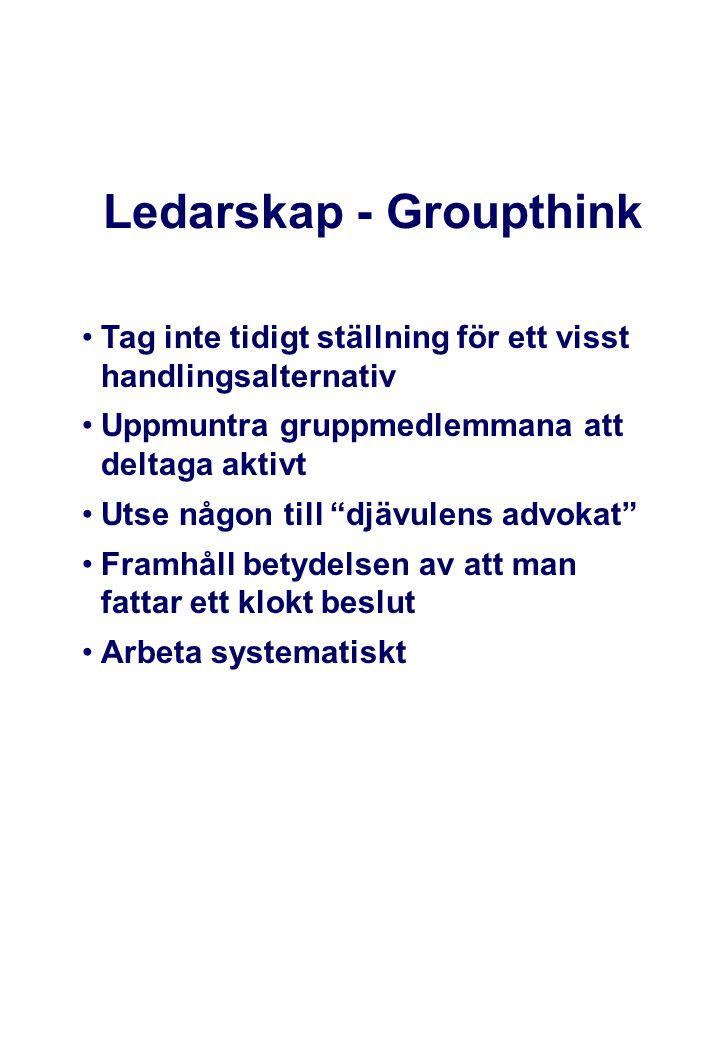 """Ledarskap - Groupthink •Tag inte tidigt ställning för ett visst handlingsalternativ •Uppmuntra gruppmedlemmana att deltaga aktivt •Utse någon till """"dj"""