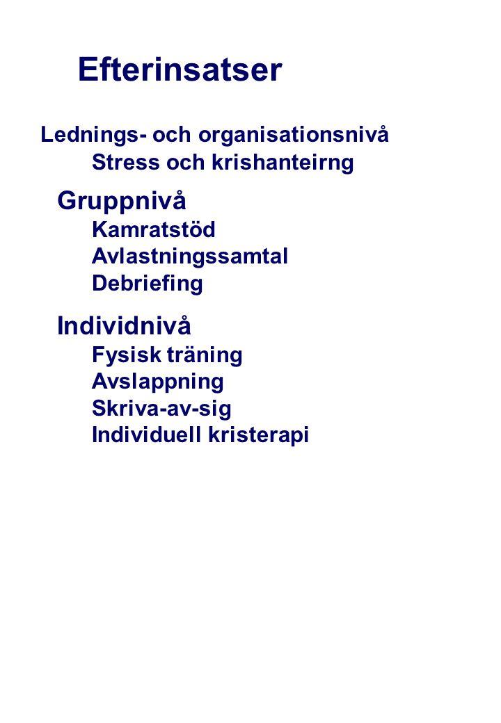 Efterinsatser Stress och krishanteirng Gruppnivå Kamratstöd Avlastningssamtal Debriefing Individnivå Fysisk träning Avslappning Skriva-av-sig Individu