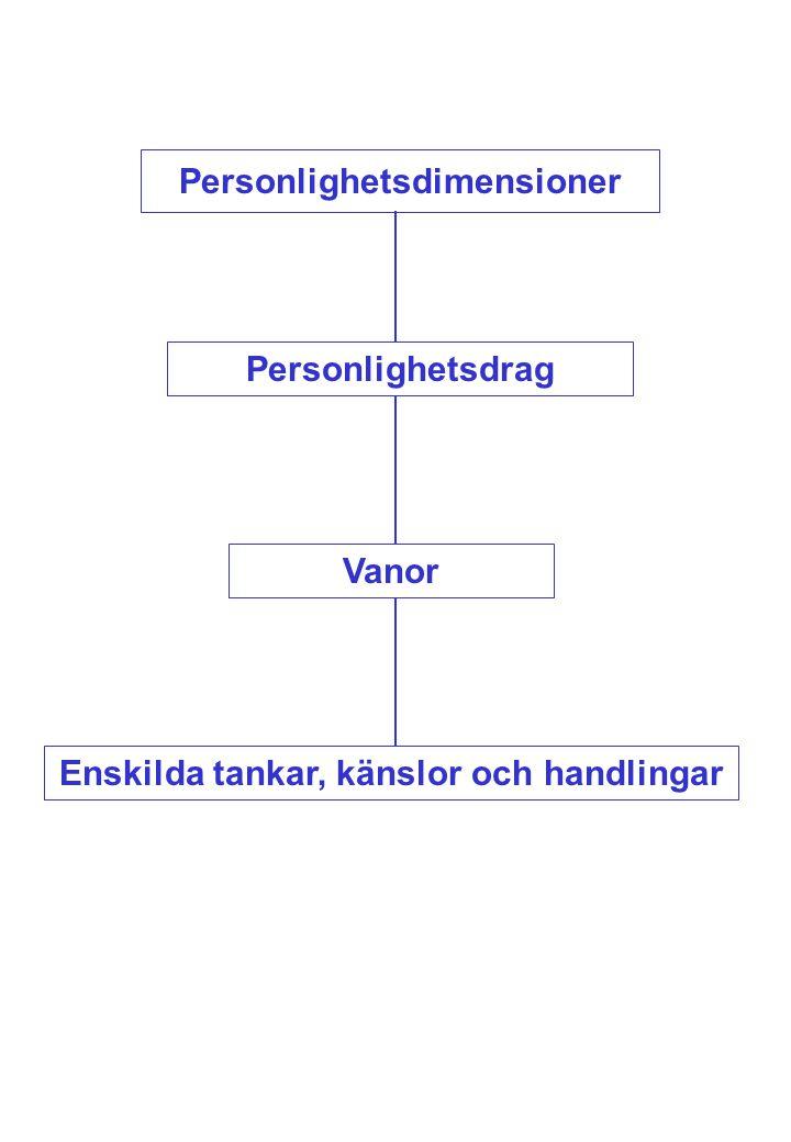 Personlighetsdimensioner Personlighetsdrag Vanor Enskilda tankar, känslor och handlingar