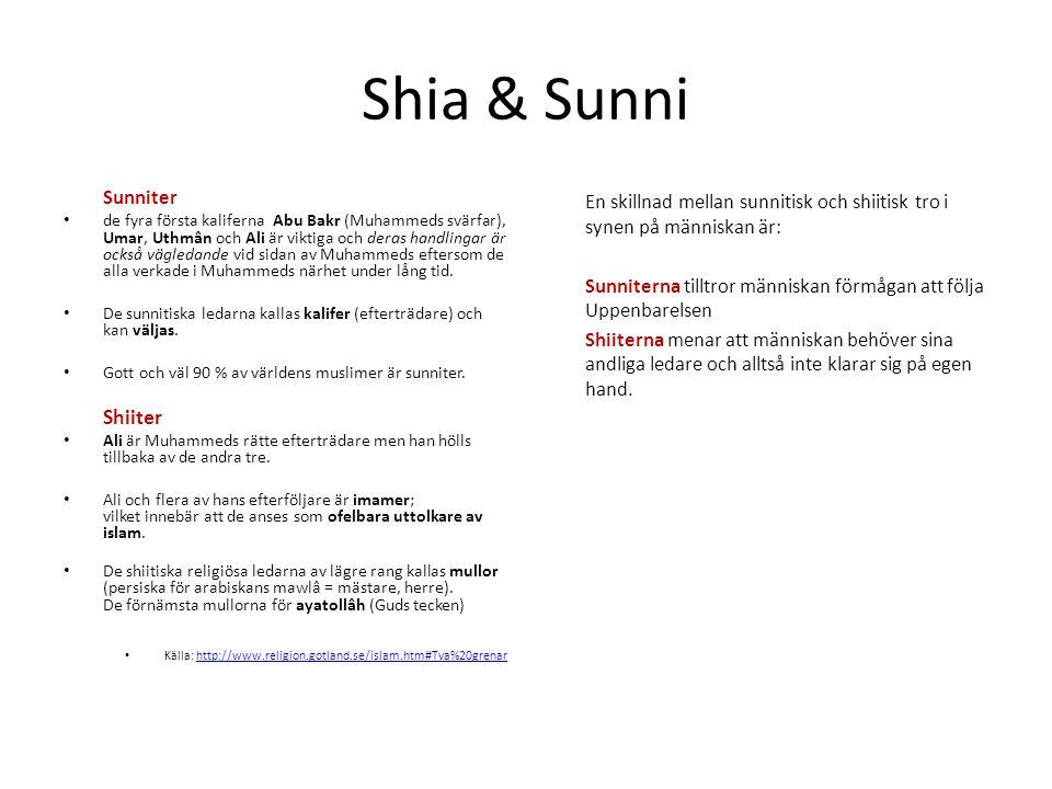Shia & Sunni Sunniter • de fyra första kaliferna Abu Bakr (Muhammeds svärfar), Umar, Uthmân och Ali är viktiga och deras handlingar är också vägledand