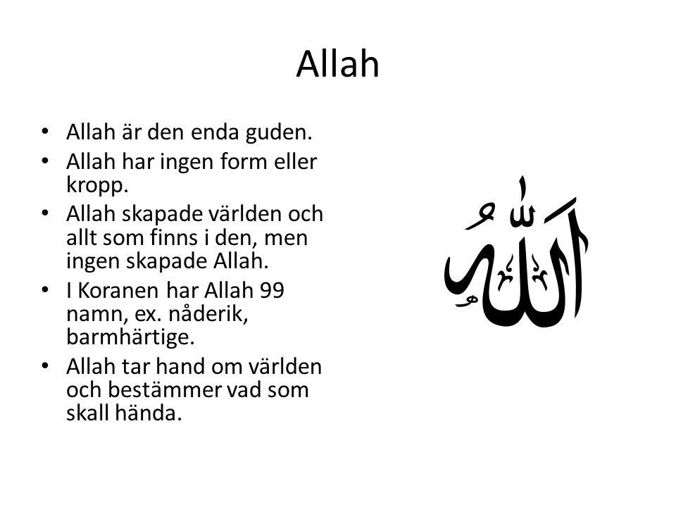 Allah • Allah är den enda guden. • Allah har ingen form eller kropp. • Allah skapade världen och allt som finns i den, men ingen skapade Allah. • I Ko