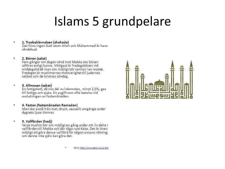 Islams 5 grundpelare • 1. Trosbekännelsen (shahada) Det finns ingen Gud utom Allah och Muhammed är hans sändebud. • 2. Bönen (salat) Fem gånger om dag