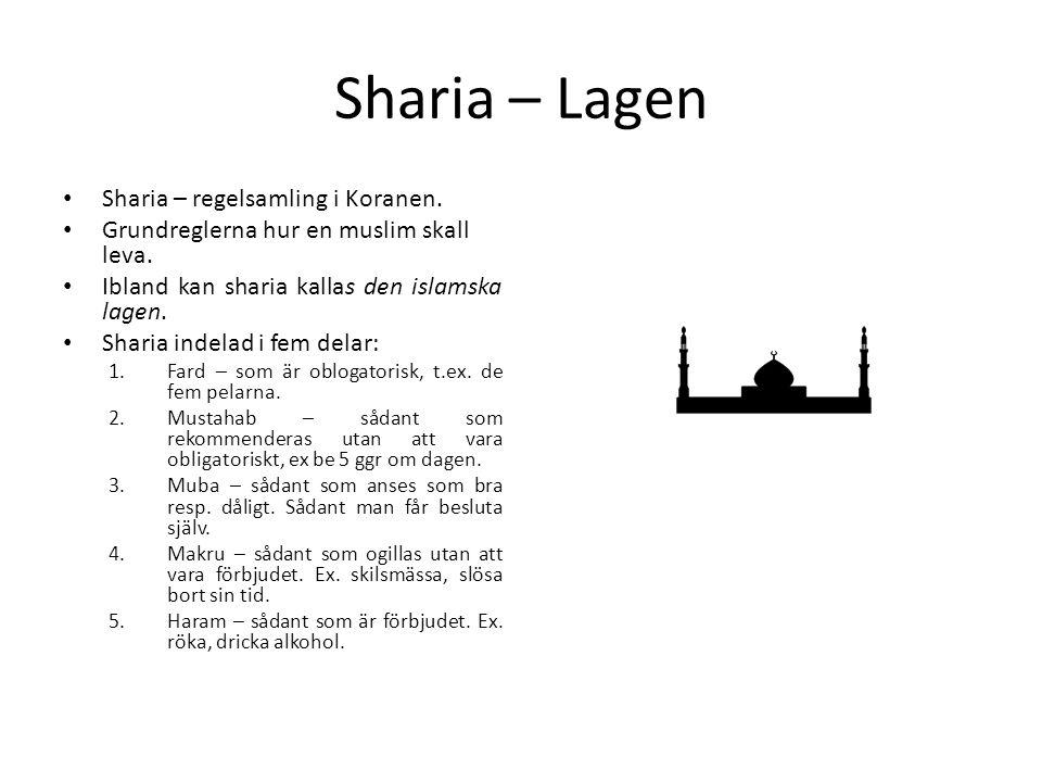 Sharia – Lagen • Sharia – regelsamling i Koranen. • Grundreglerna hur en muslim skall leva. • Ibland kan sharia kallas den islamska lagen. • Sharia in