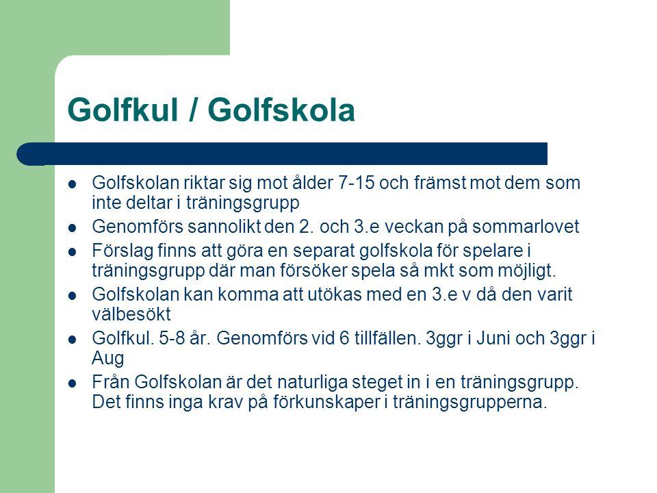 Golfkul / Golfskola  Golfskolan riktar sig mot ålder 7-15 och främst mot dem som inte deltar i träningsgrupp  Genomförs sannolikt den 2.