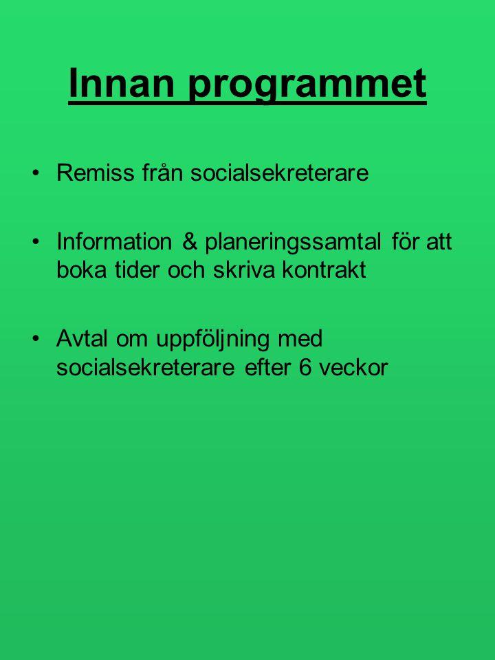 Innan programmet •Remiss från socialsekreterare •Information & planeringssamtal för att boka tider och skriva kontrakt •Avtal om uppföljning med socia