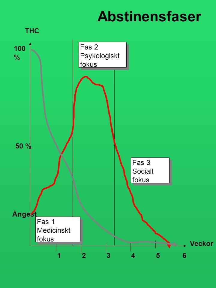 THC 100 % 50 % Veckor 1234 56 Fas 1 Medicinskt fokus Fas 1 Medicinskt fokus Fas 2 Psykologiskt fokus Fas 2 Psykologiskt fokus Fas 3 Socialt fokus Fas