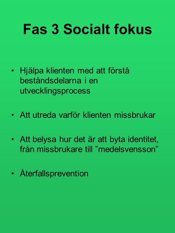 Fas 3 Socialt fokus •Hjälpa klienten med att förstå beståndsdelarna i en utvecklingsprocess •Att utreda varför klienten missbrukar •Att belysa hur det