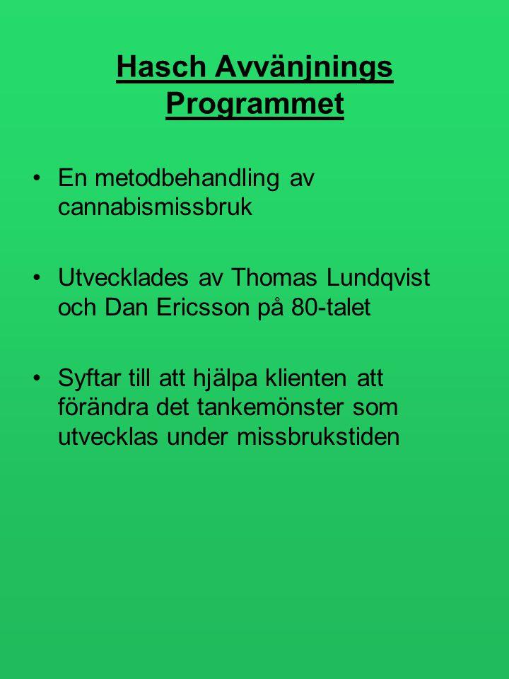 Hasch Avvänjnings Programmet •En metodbehandling av cannabismissbruk •Utvecklades av Thomas Lundqvist och Dan Ericsson på 80-talet •Syftar till att hj