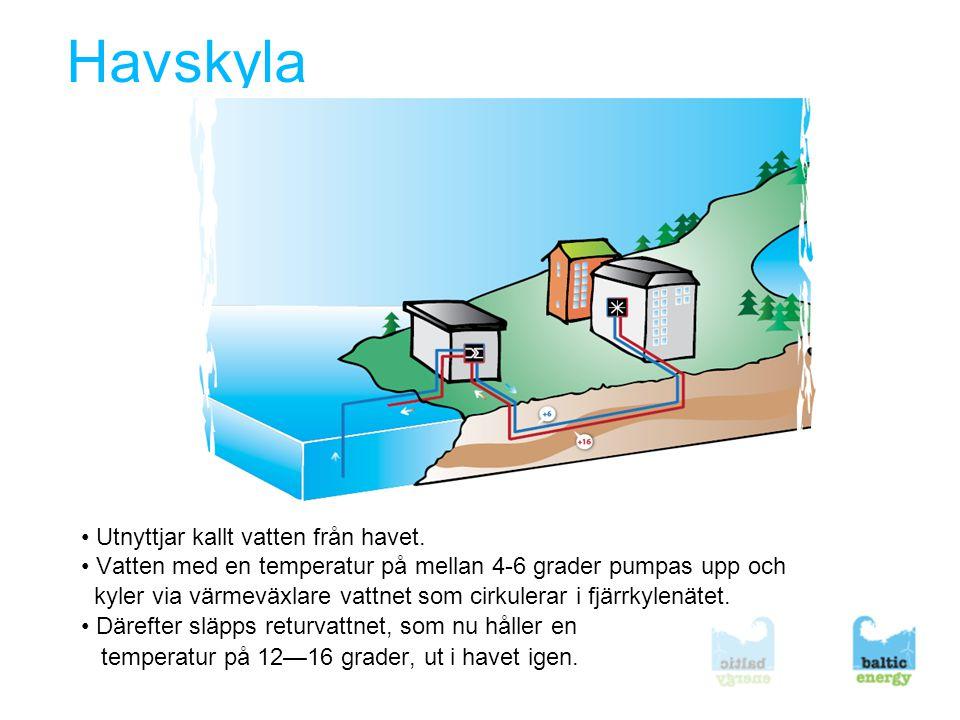 Solkyla • Solkylan i detta exempel utnyttjar möjligheterna att få en varm och en kall sida i ett batteri med ett kärl med vatten och ett kärl med salt • Värmen från solfångaren leds till saltkärlet som upphettas och vatten avgår • Vatten kondenserar i vattenbehållaren som har undertryck.