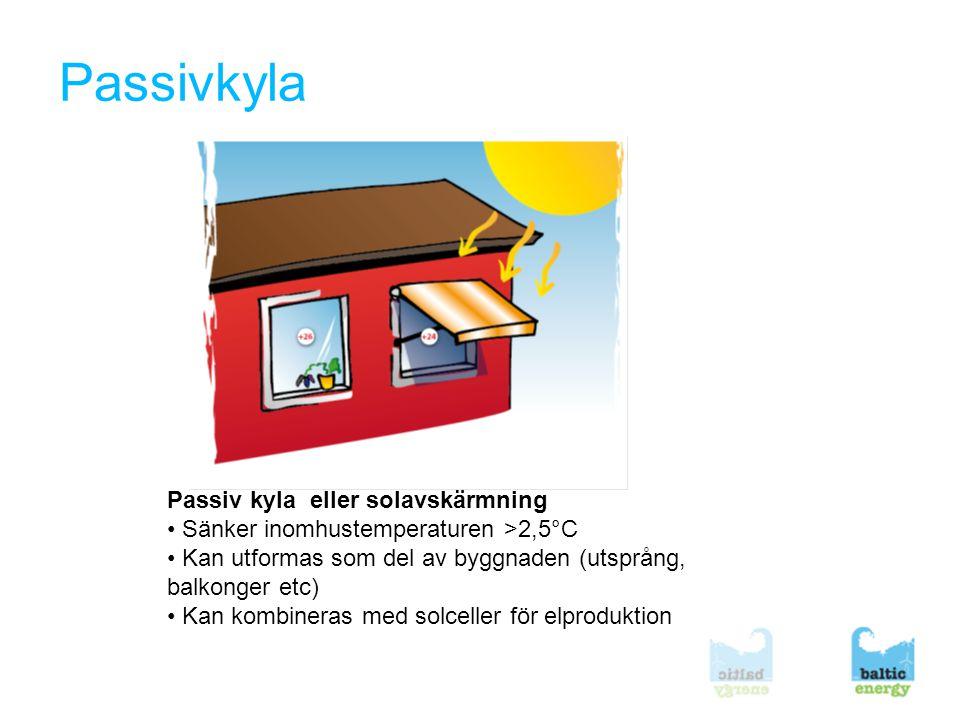Passivkyla Passiv kyla eller solavskärmning • Sänker inomhustemperaturen >2,5°C • Kan utformas som del av byggnaden (utsprång, balkonger etc) • Kan kombineras med solceller för elproduktion
