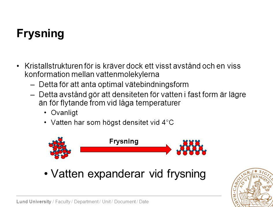 Lund University / Faculty / Department / Unit / Document / Date Frysning •Kristallstrukturen för is kräver dock ett visst avstånd och en viss konforma