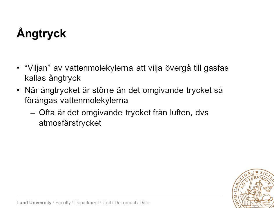 """Lund University / Faculty / Department / Unit / Document / Date Ångtryck •""""Viljan"""" av vattenmolekylerna att vilja övergå till gasfas kallas ångtryck •"""