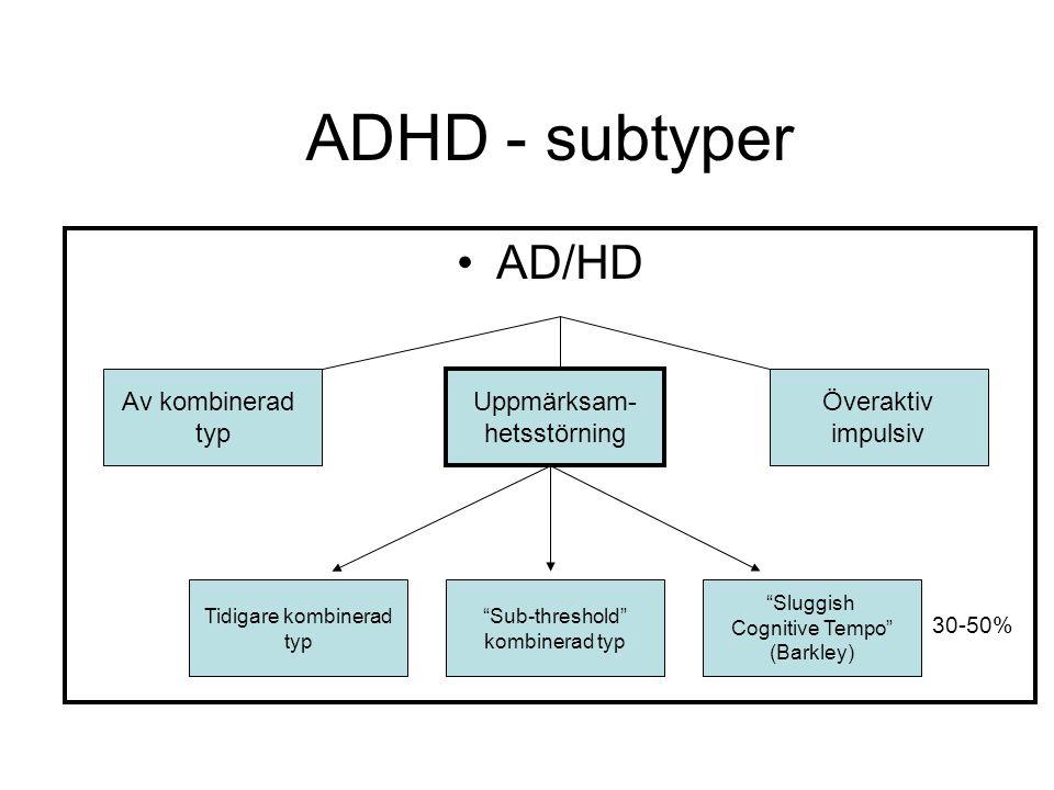 Browns modell för nedsatta exekutiva funktioner vid ADHD Exekutiva funktioner Organi- sera, prioritera och aktivera Fokusera, upprätt- hålla fokus, byta fokus Reglering av vakenhet, energi- användning och hastighet Frustrations hantering och modulering av affekter Använda arbetsminne och söka i minnes- funktionerna Övervakning av och själv- reglering av handlingar 1.
