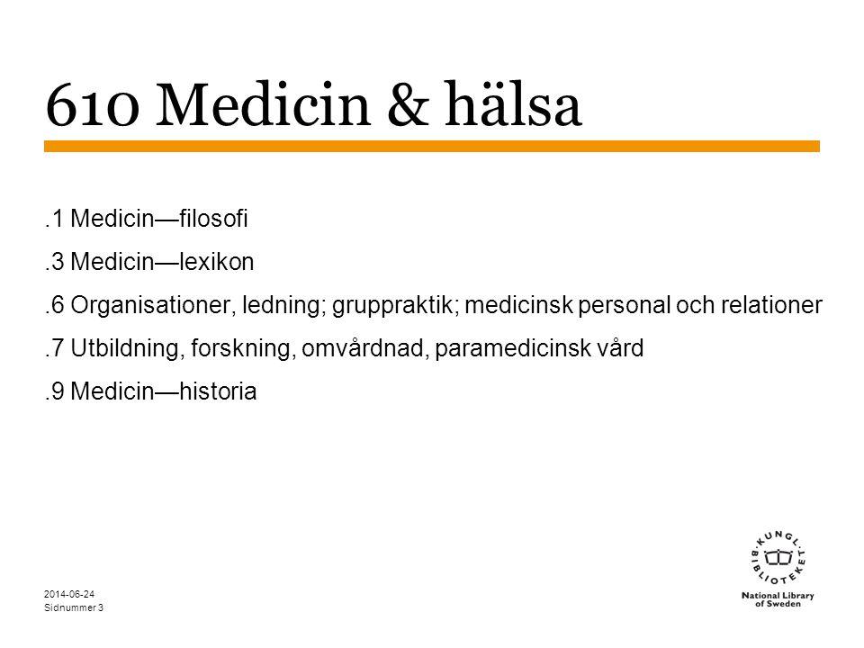 Sidnummer 2014-06-24 4 610 Medicin & hälsa Yrkesgrupper: 610.69 Medicinsk personal och medicinska relationer, ex.