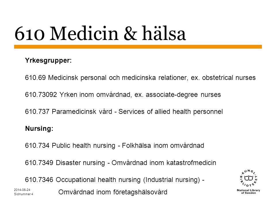 Sidnummer 2014-06-24 25 DDK & SAB Folkhälsa: 610.734 Folkhälsa inom omvårdnad 614 Rättsmedicin; skadeincidens, sårincidens, sjukdomsincidens; preventiv allmänmedicin 614.4 Incidens av sjukdom och samhälleliga åtgärder för att förebygga sjukdom Epidemiologi 614.5 Incidens av och samhälleliga åtgärder för att förebygga särskilda sjukdomar och sjukdomstyper 362.1 Fysisk sjukdom Sociala problem och sociala tjänster till grupper 344.04 Diverse sociala frågor och tjänster Övergripande verk om folkhälsa