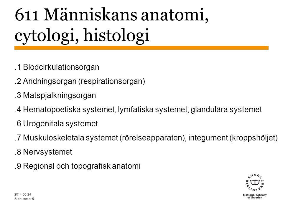 Sidnummer 2014-06-24 6 611 Människans anatomi, cytologi, histologi Struktur efter kroppens system Termen integument (kroppshöljet) används inte i SAB men kan inte översättas till hud eftersom det är en bredare term (hud, hår & naglar).