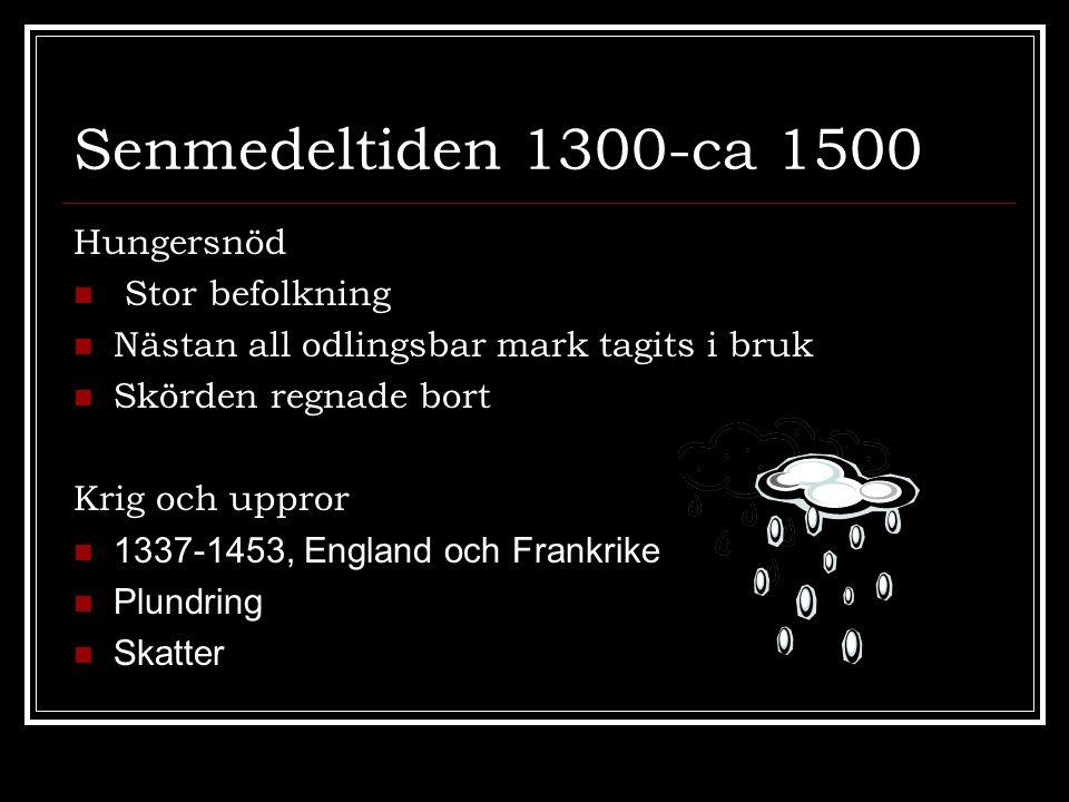 Senmedeltiden 1300-ca 1500 Hungersnöd  Stor befolkning  Nästan all odlingsbar mark tagits i bruk  Skörden regnade bort Krig och uppror  1337-1453,