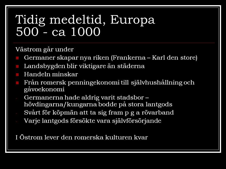 Tidig medeltid, Europa 500 - ca 1000 Västrom går under  Germaner skapar nya riken (Frankerna – Karl den store)  Landsbygden blir viktigare än städer