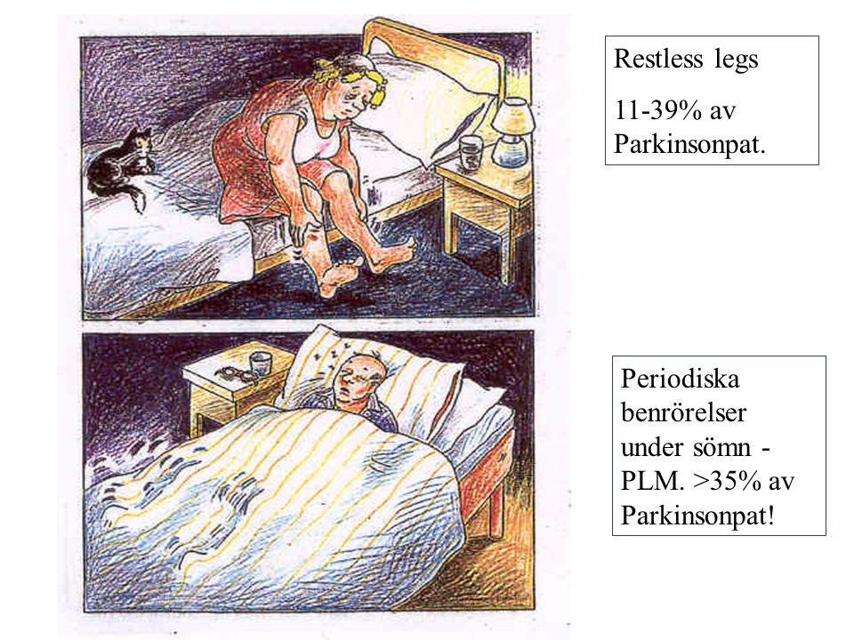 Restless legs 11-39% av Parkinsonpat. Periodiska benrörelser under sömn - PLM. >35% av Parkinsonpat!