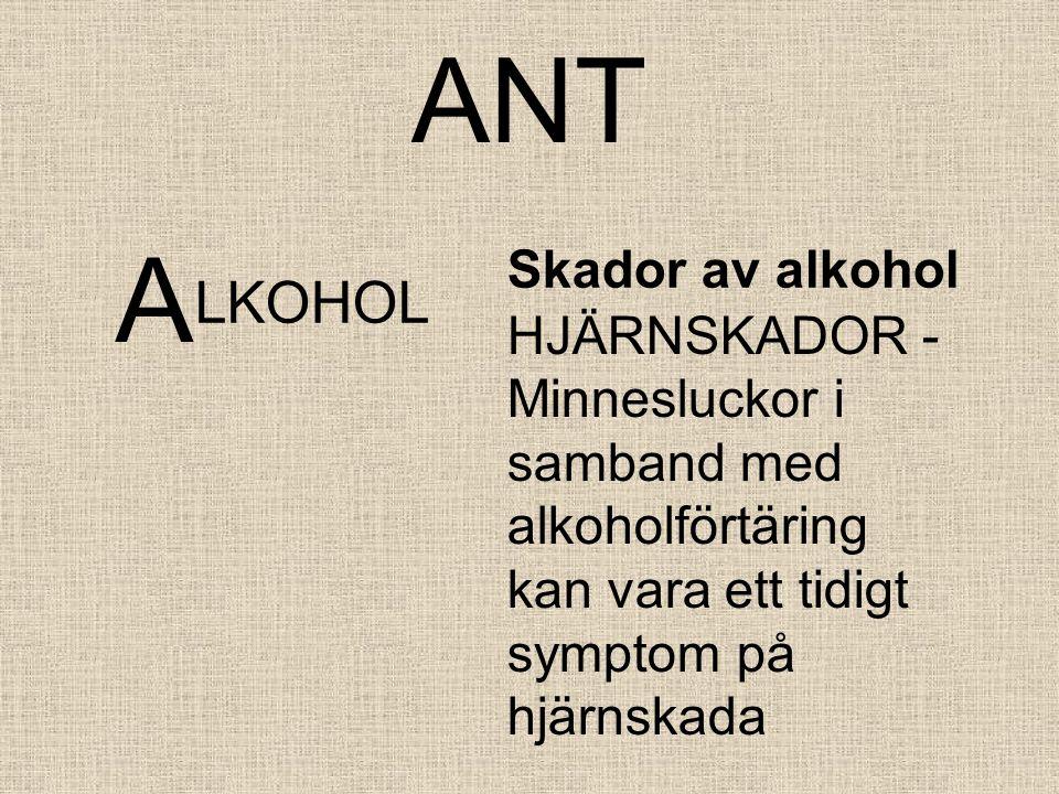 ANT A LKOHOL Skador av alkohol HJÄRNSKADOR - Minnesluckor i samband med alkoholförtäring kan vara ett tidigt symptom på hjärnskada
