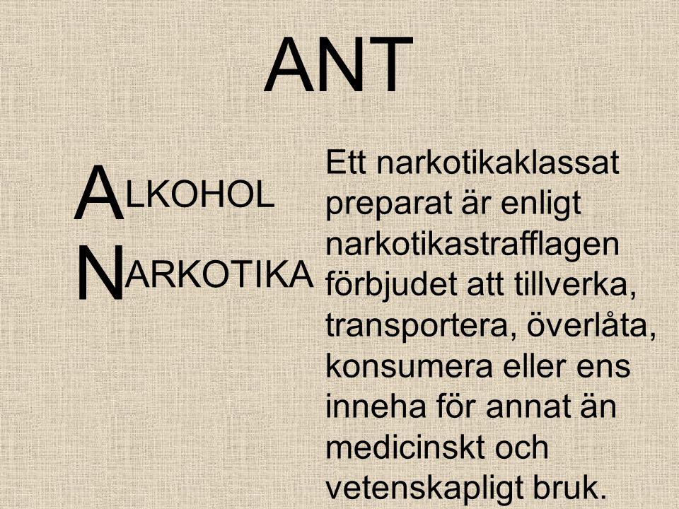 ANT A LKOHOL Ett narkotikaklassat preparat är enligt narkotikastrafflagen förbjudet att tillverka, transportera, överlåta, konsumera eller ens inneha för annat än medicinskt och vetenskapligt bruk.