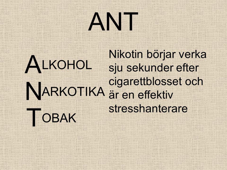 ANT A LKOHOL Nikotin börjar verka sju sekunder efter cigarettblosset och är en effektiv stresshanterare N ARKOTIKA T OBAK