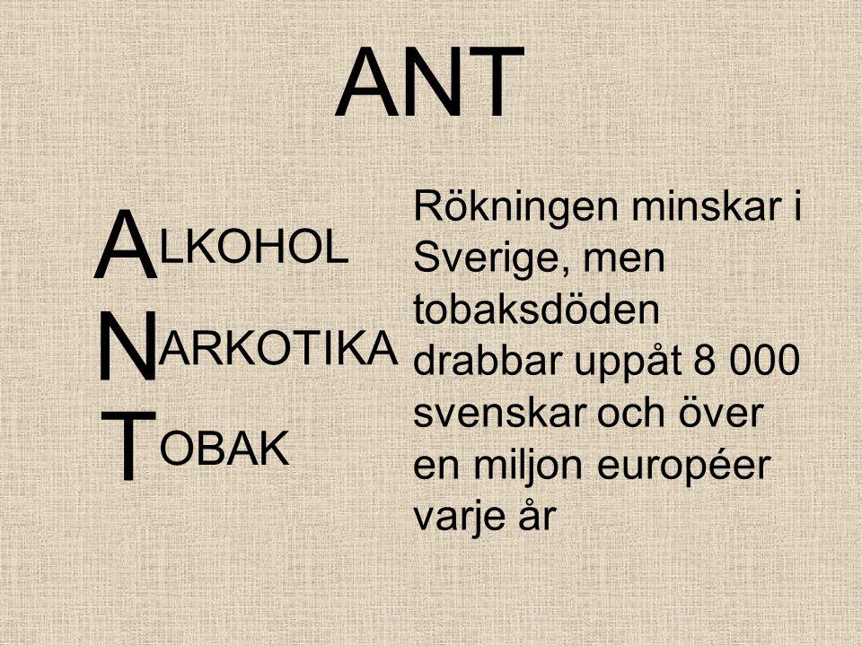 ANT A LKOHOL Rökningen minskar i Sverige, men tobaksdöden drabbar uppåt 8 000 svenskar och över en miljon européer varje år N ARKOTIKA T OBAK