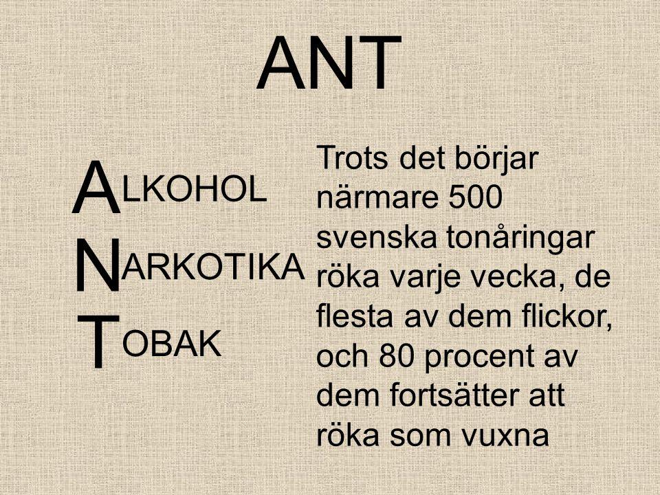 ANT A LKOHOL Trots det börjar närmare 500 svenska tonåringar röka varje vecka, de flesta av dem flickor, och 80 procent av dem fortsätter att röka som vuxna N ARKOTIKA T OBAK