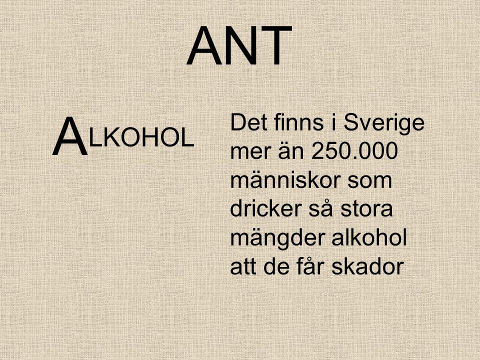 ANT A LKOHOL Det finns i Sverige mer än 250.000 människor som dricker så stora mängder alkohol att de får skador