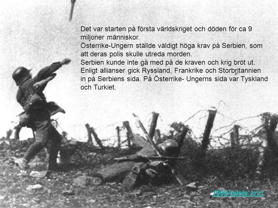 Det var starten på första världskriget och döden för ca 9 miljoner människor. Österrike-Ungern ställde väldigt höga krav på Serbien, som att deras pol