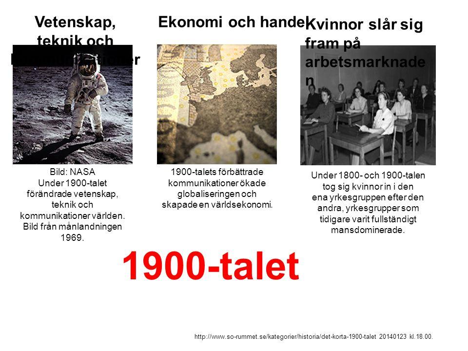 Bild: NASA Under 1900-talet förändrade vetenskap, teknik och kommunikationer världen. Bild från månlandningen 1969. Vetenskap, teknik och kommunikatio
