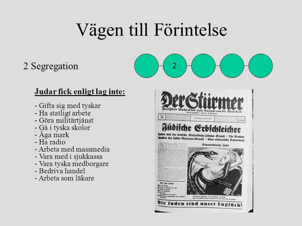 Vägen till Förintelse Judar fick enligt lag inte: - Gifta sig med tyskar - Ha statligt arbete - Göra militärtjänst - Gå i tyska skolor - Äga mark - Ha