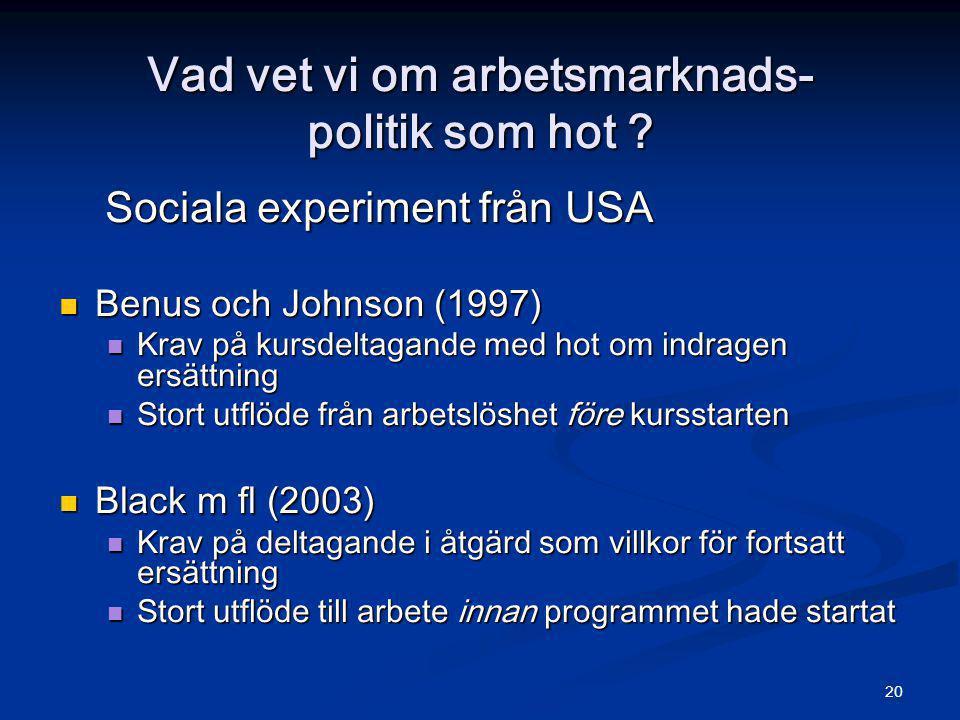 20 Vad vet vi om arbetsmarknads- politik som hot ? Sociala experiment från USA Sociala experiment från USA  Benus och Johnson (1997)  Krav på kursde