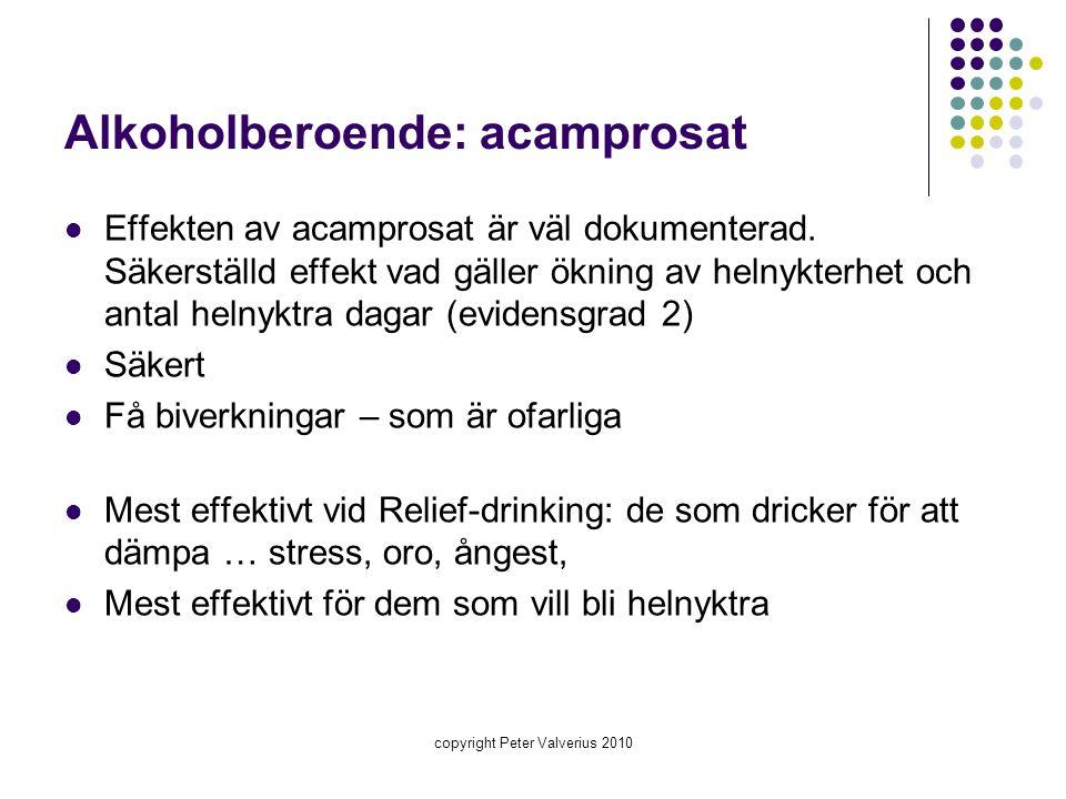 Alkoholberoende: acamprosat  Effekten av acamprosat är väl dokumenterad. Säkerställd effekt vad gäller ökning av helnykterhet och antal helnyktra dag