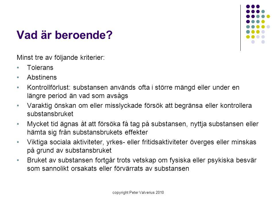 copyright Peter Valverius 2010 Bensodiazepinabstinens : Observera.