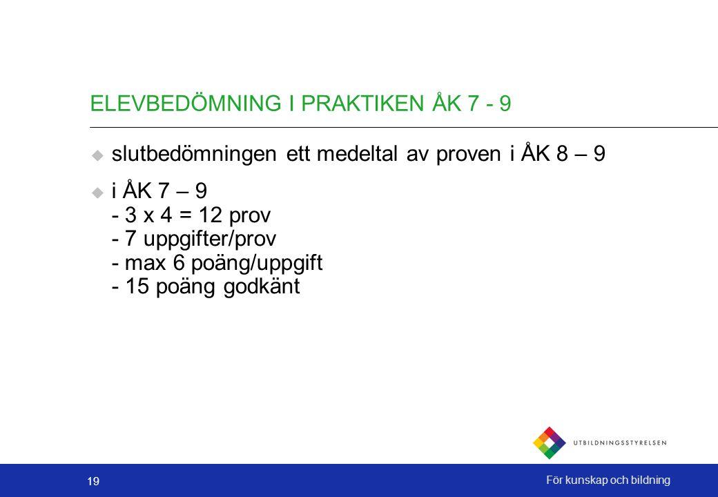19 För kunskap och bildning ELEVBEDÖMNING I PRAKTIKEN ÅK 7 - 9  slutbedömningen ett medeltal av proven i ÅK 8 – 9  i ÅK 7 – 9 - 3 x 4 = 12 prov - 7 uppgifter/prov - max 6 poäng/uppgift - 15 poäng godkänt