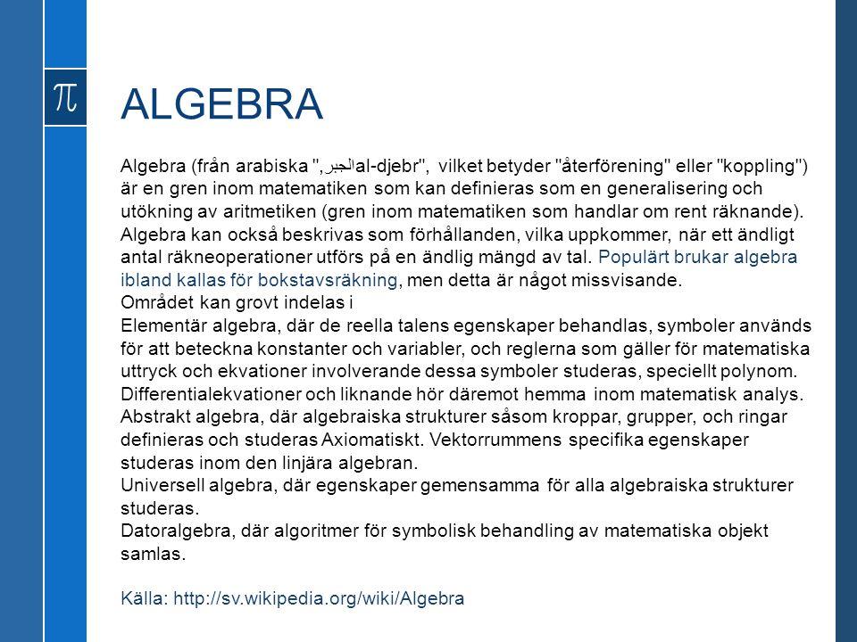 ALGEBRA Algebra (från arabiska الجبر,