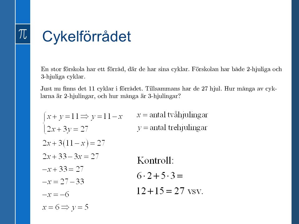 GENOMGÅNG 3.1 Uttryck och ekvationer