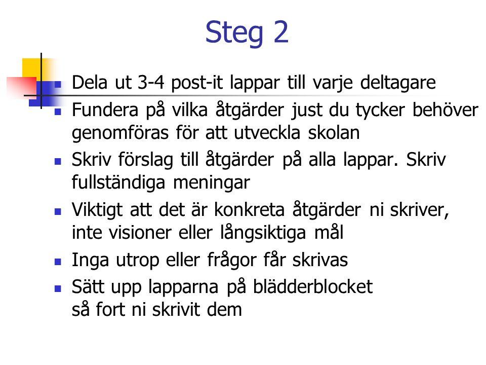 Steg 2  Dela ut 3-4 post-it lappar till varje deltagare  Fundera på vilka åtgärder just du tycker behöver genomföras för att utveckla skolan  Skriv
