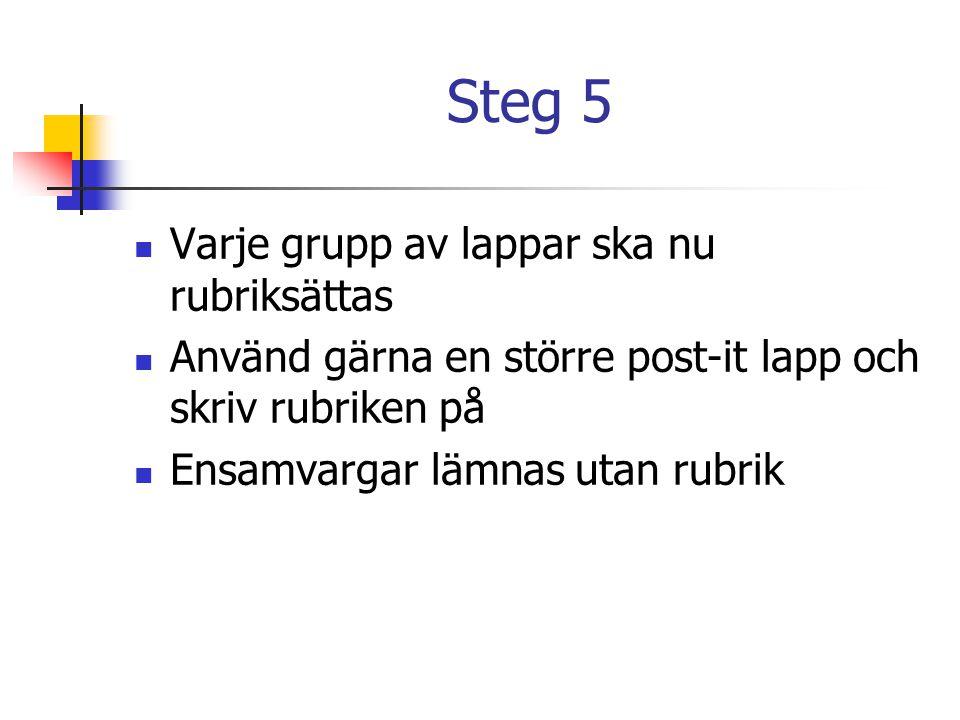 Steg 5  Varje grupp av lappar ska nu rubriksättas  Använd gärna en större post-it lapp och skriv rubriken på  Ensamvargar lämnas utan rubrik