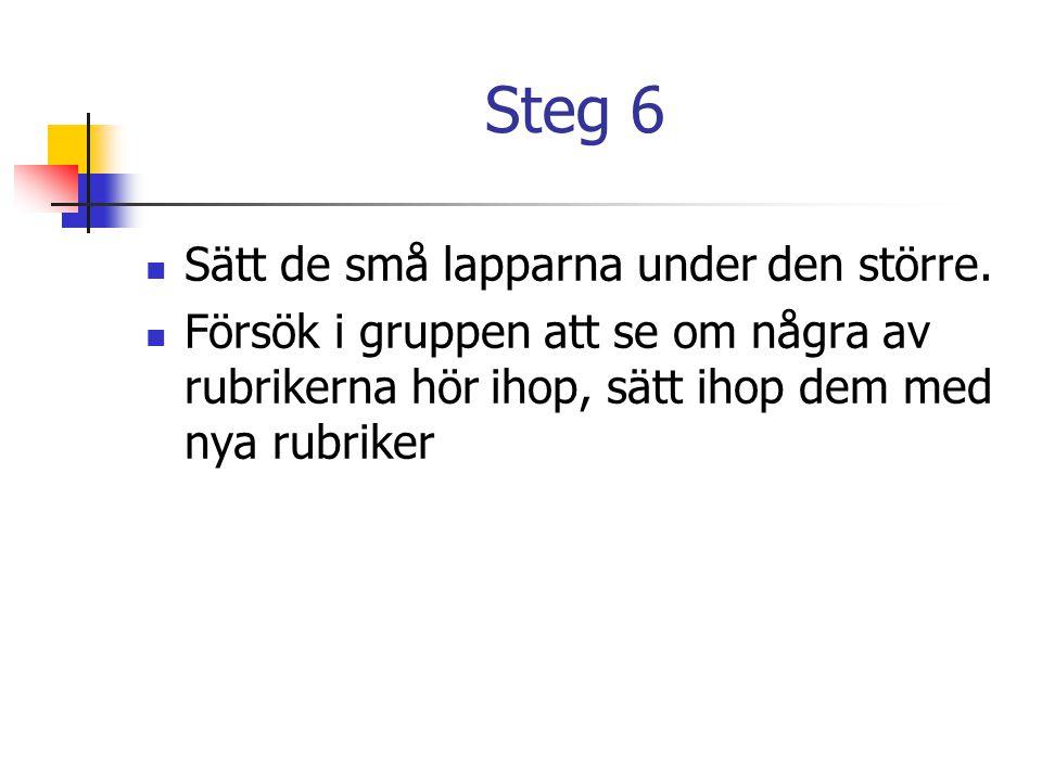 Steg 6  Sätt de små lapparna under den större.  Försök i gruppen att se om några av rubrikerna hör ihop, sätt ihop dem med nya rubriker