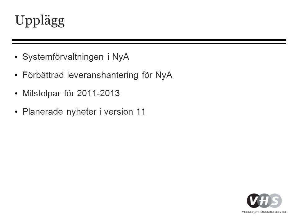 Systemförvaltning i NyA • Förvaltning omfattar vidareutveckling och löpande ändringar/underhåll (felrättningar, förbättringar, anpassningar) • Förvaltningsstrategi • Systemägarens styrdokument till förvaltningen • Inriktning för 3 år • Direktiv till årlig förvaltningsplan • Långsiktiga mål för NyA • Förvaltningsplan • Årlig plan för förvaltningen • Utvecklingsprojekt under året • Fastställs i november av VHS direktör (systemägaren)