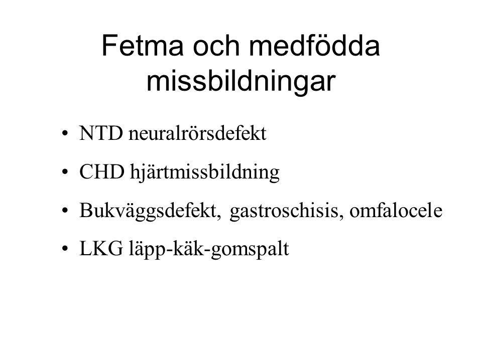 Fetma och medfödda missbildningar •NTD neuralrörsdefekt •CHD hjärtmissbildning •Bukväggsdefekt, gastroschisis, omfalocele •LKG läpp-käk-gomspalt
