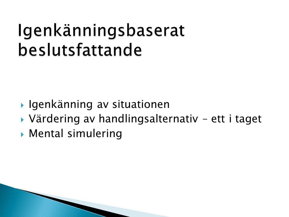  Igenkänning av situationen  Värdering av handlingsalternativ – ett i taget  Mental simulering