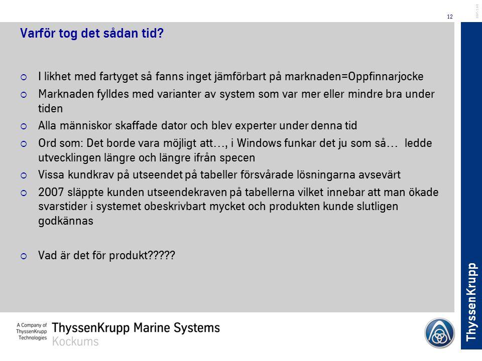 ThyssenKrupp 12 BL051.04 Varför tog det sådan tid?  I likhet med fartyget så fanns inget jämförbart på marknaden=Oppfinnarjocke  Marknaden fylldes m
