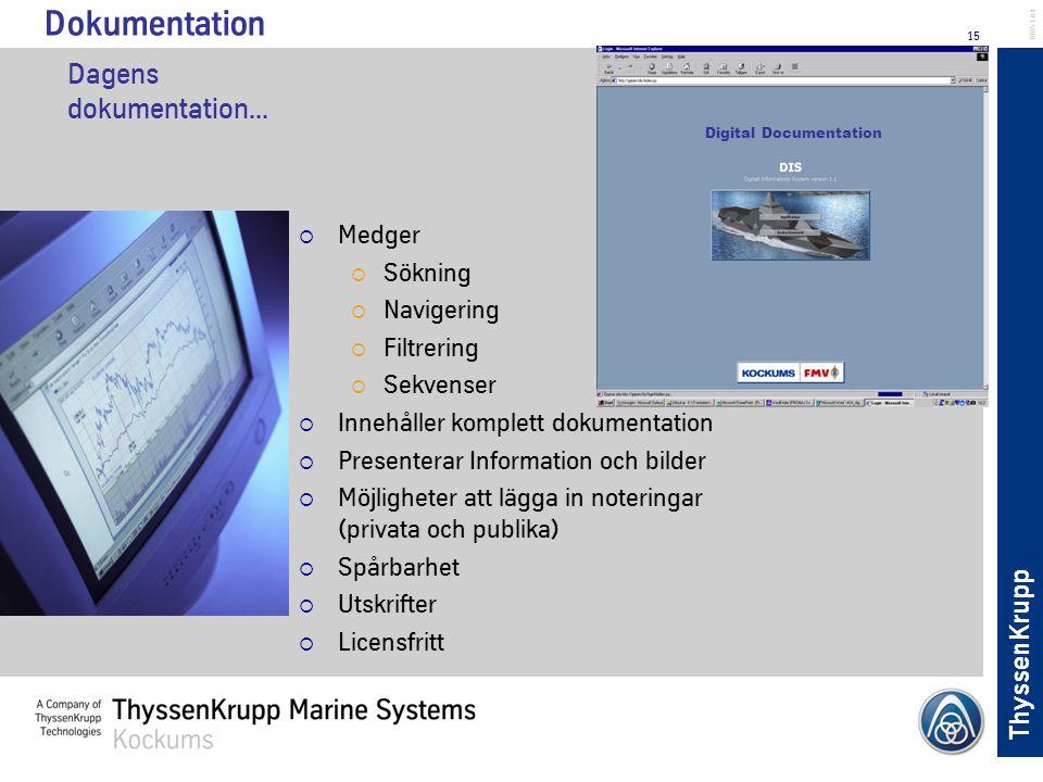 ThyssenKrupp 15 BL051.04 Dagens dokumentation... Digital Documentation Dokumentation  Medger  Sökning  Navigering  Filtrering  Sekvenser  Innehå