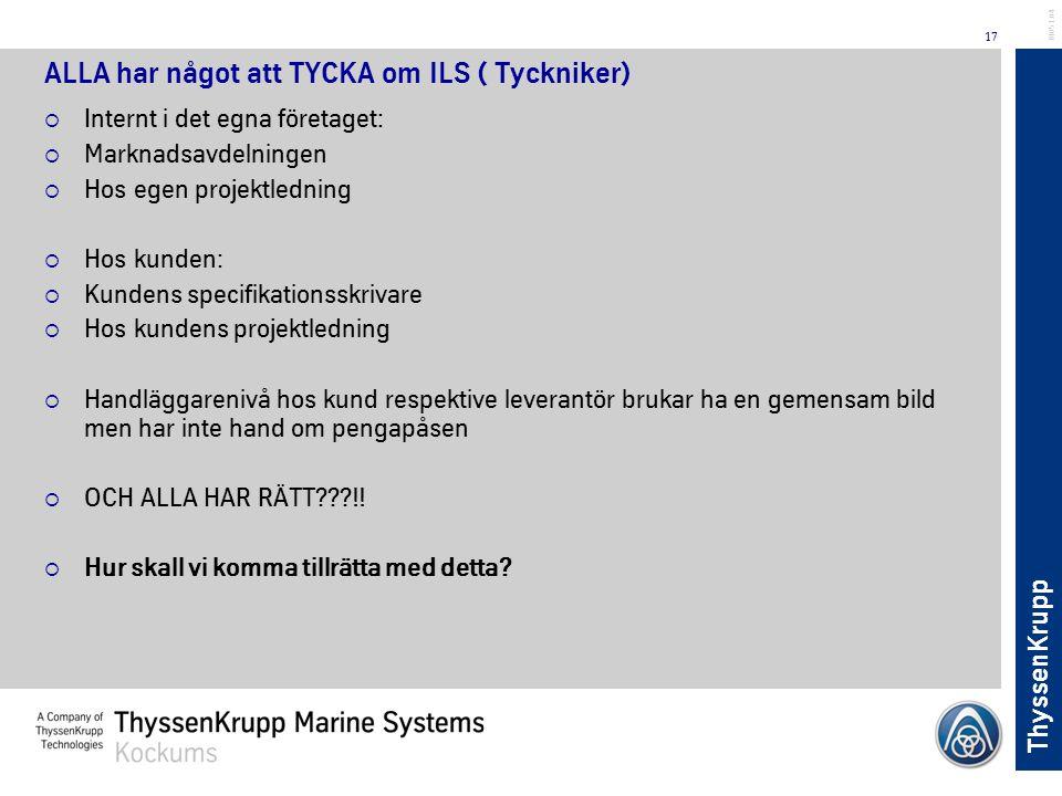 ThyssenKrupp 17 BL051.04 ALLA har något att TYCKA om ILS ( Tyckniker)  Internt i det egna företaget:  Marknadsavdelningen  Hos egen projektledning