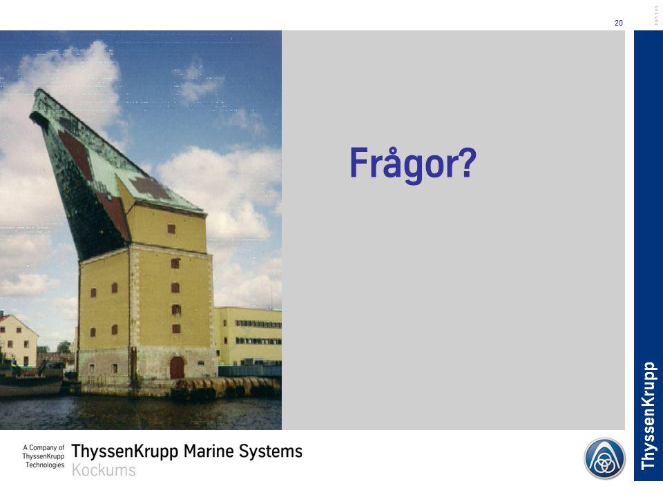 ThyssenKrupp 20 BL051.04 Frågor?
